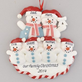 Snow Family of Six Red White and Blue Personalized Christmas Ornament