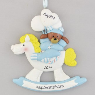Baby Boy's First Christmas Home Rocking Horse Personalized Christmas Ornament