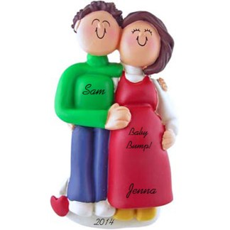 Pregnant Couple: Male Brunette Hair, Female Brunette Hair Personalized Christmas Ornament