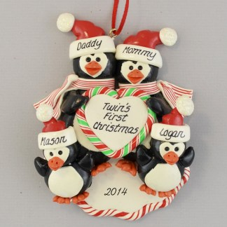 Twins' First Christmas Penguin Family Personalized christmas Ornaments