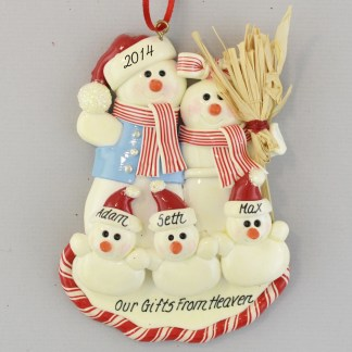 Triplets' First Christmas with Parents Personalized Christmas Ornaments