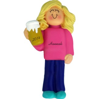 Beer Drinker/21st Birthday Girl Blonde Personalized Ornament