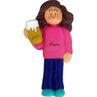 Beer Drinker/21st Birthday Girl Brunette Personalized Ornament