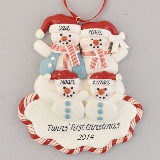 Twins and Parents personalized christmas Ornament