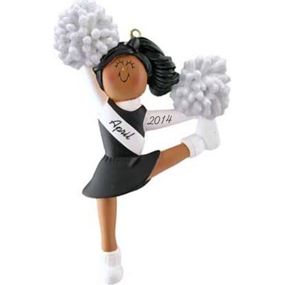 Cheerleader: Black Uniform, Personalized christmas Ornament