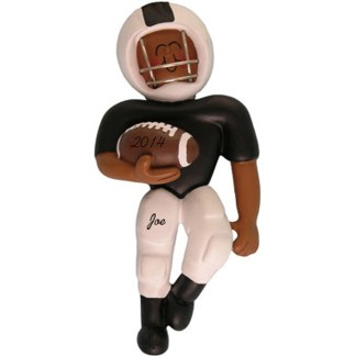 Football Player: Black Uniform, Personalized christmas Ornament