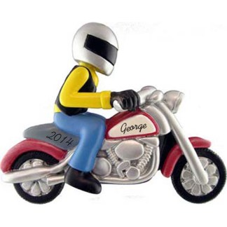 Motorcycle Rider Personalized Christmas Ornament