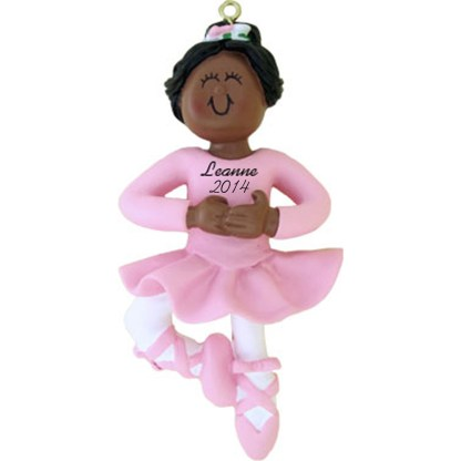 Ballerina: Ethnic Personalized Christmas christmas Ornament