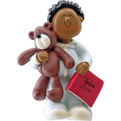 Boy with Teddy Bear: Ethnic Personalized christmas Ornament