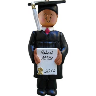 Boy Graduate: Ethnic Personalized christmas Ornament