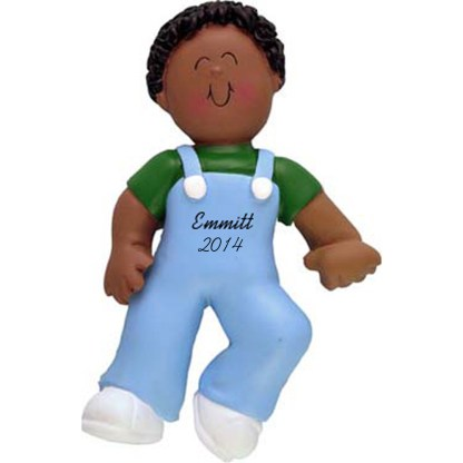 Baby's First Steps: Ethnic Boy Personalized christmas Ornament