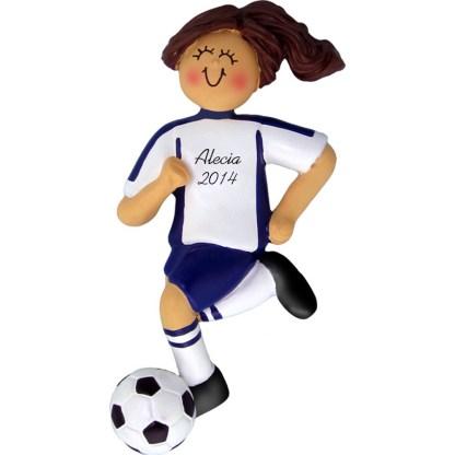 Soccer Dribbling Brunette Female in Blue Uniform Personalized christmas Ornament