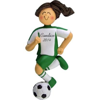 Soccer Dribbling Brunette Girl in Green Uniform Personalized christmas Ornament