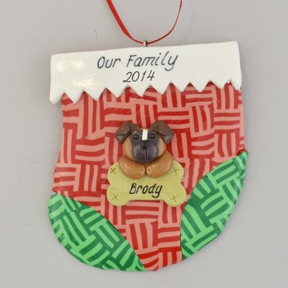 holiday stocking with one pet personalized christmas ornament