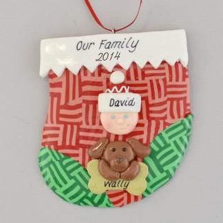 holiday stocking with one person and one pet personalized christmas ornament