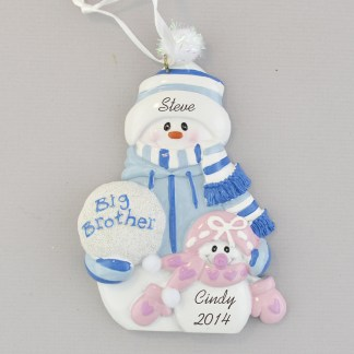 brother with little sister snow people personalized christmas ornament