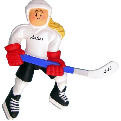 girl ice hockey blonde personalized christmas ornament