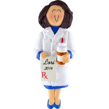 pharmacist female personalized christmas ornament