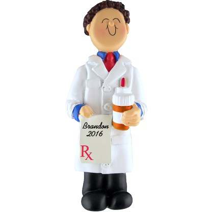 pharmacist male personalized christmas ornament