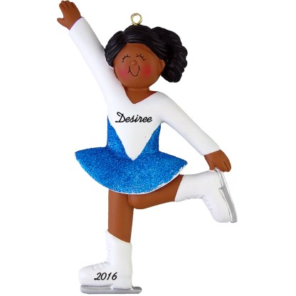 ice skater girl african american personalized christmas ornament