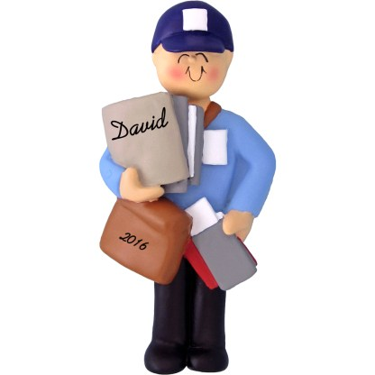 mailman male personalized christmas ornament