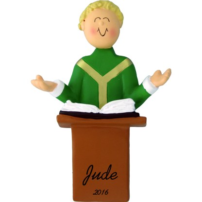 priest blonde personalized christmas ornament
