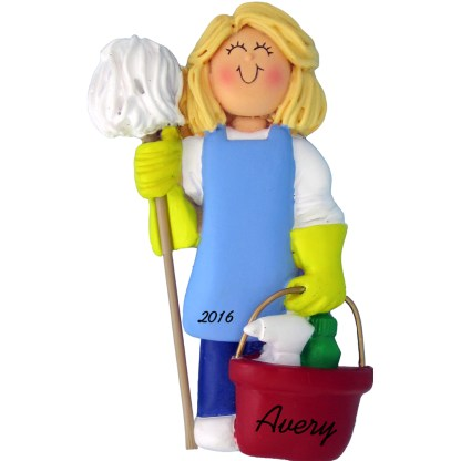 housekeeper female blonde personalized christmas ornament