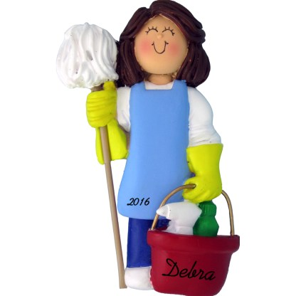 female housekeeper brunette personalized christmas ornament