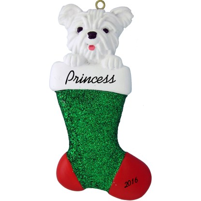 westie in stocking personalized pet christmas ornament