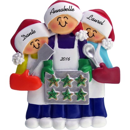 baking cookies 3 people personalized christmas ornament