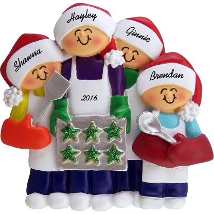 baking cookies personalized christmas ornament 4 people