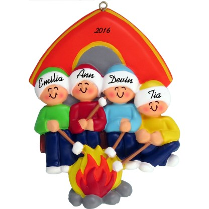 camping family of four personalized christmas ornament
