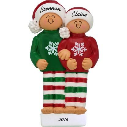 pajamas family of 2 personalized christmas ornament