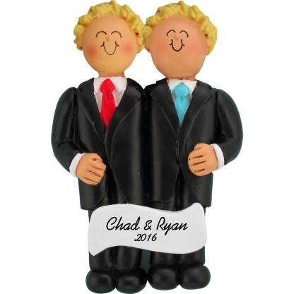same sex wedding both blonde ornament personalized christmas ornament