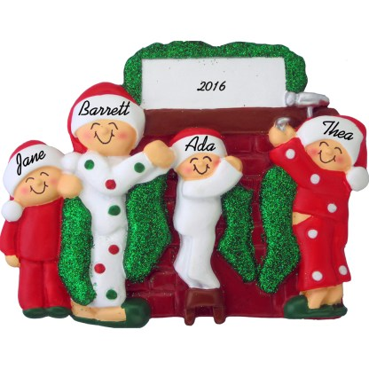 hanging stockings family of 4 personalized christmas ornament