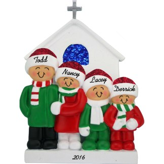 church family of four personalized christmas ornament