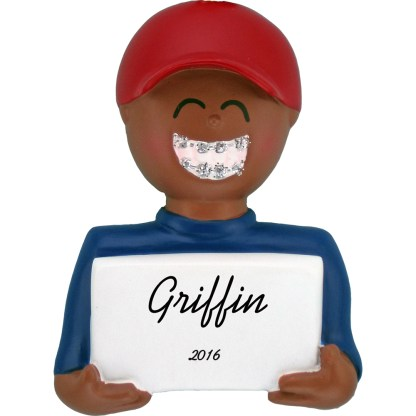 African American Boy with Braces personalized christmas ornament