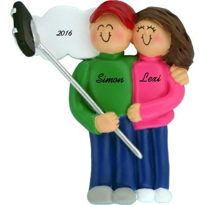 selfie stick couple brunettes personalized christmas ornament