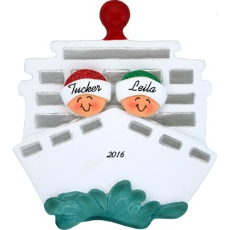 Cruise ship for two personalized christmas ornament