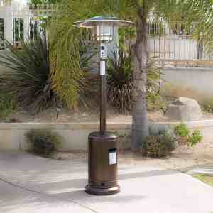 A Propane Patio Heater in an outdoor patio area, the protection of chill environment