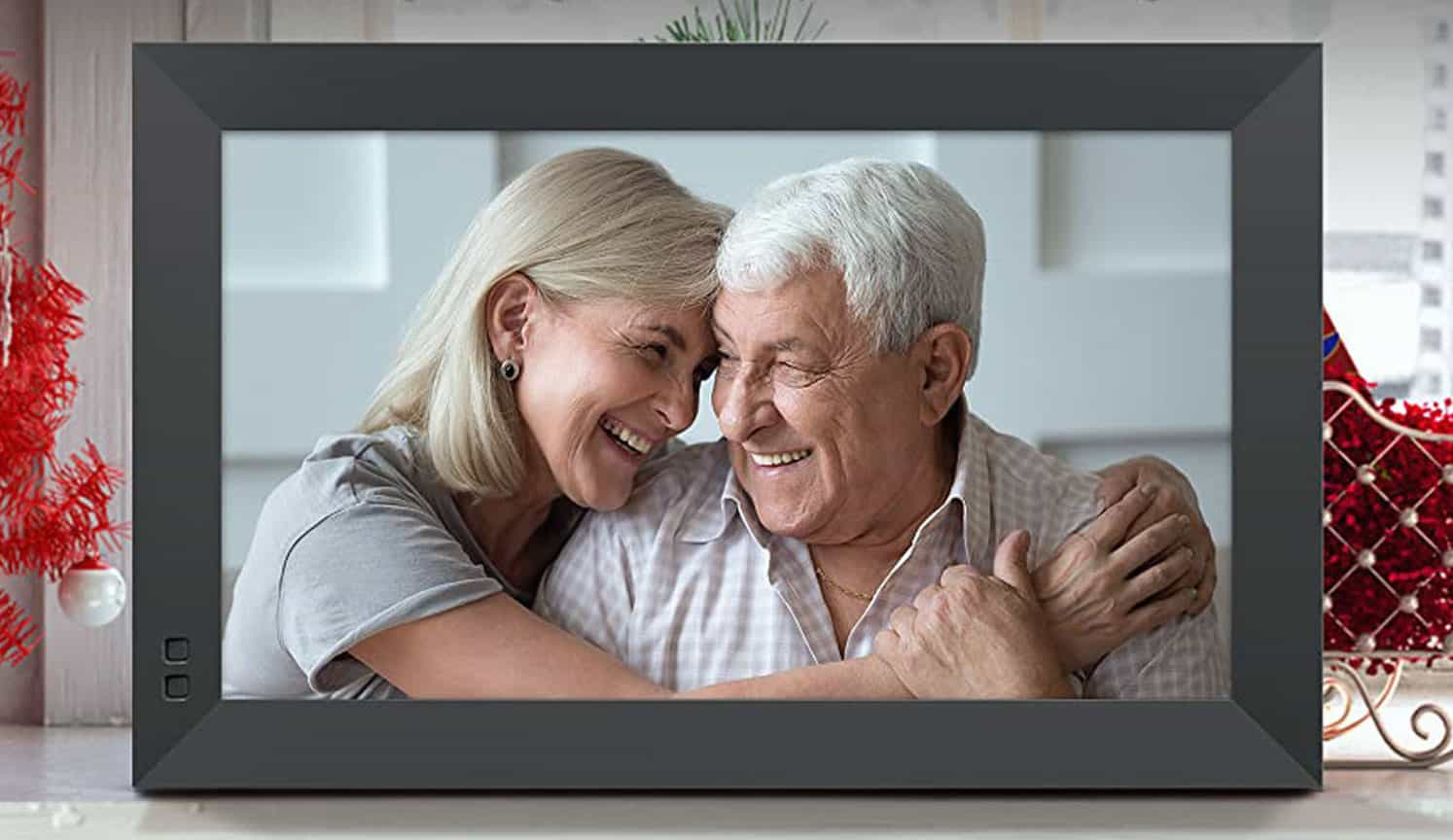 Flourished senior couple picture in a large digital picture frame