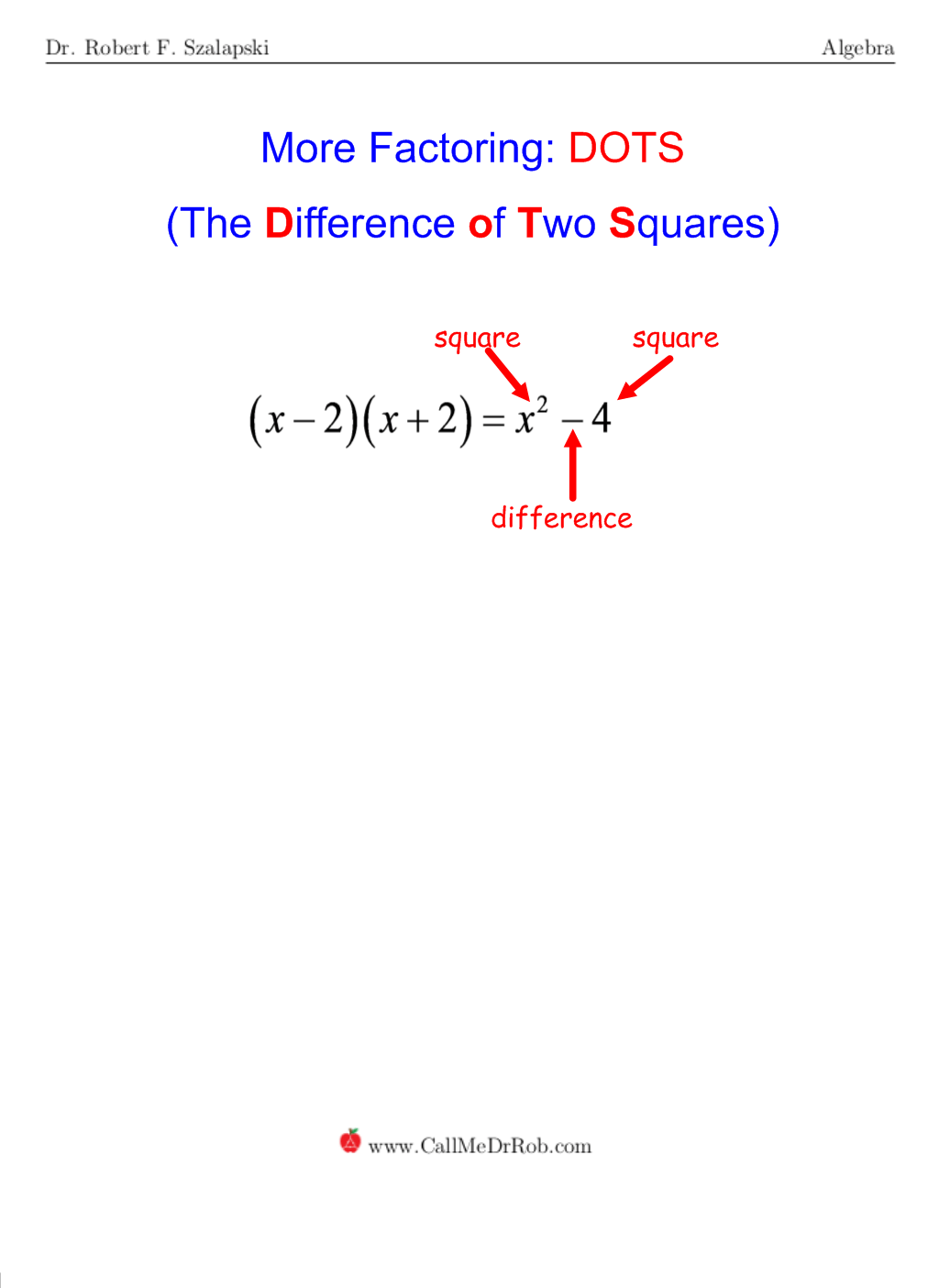 Dots Difference Of Two Squares