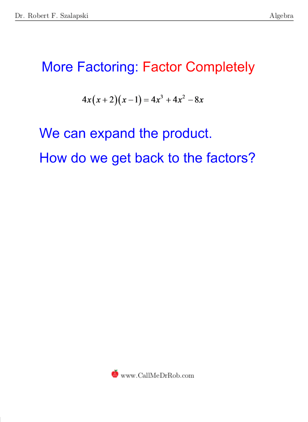 How To Factor Completely