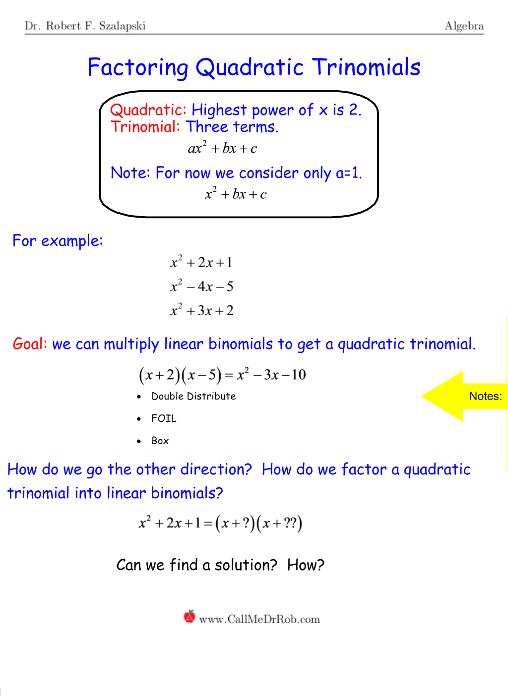 Quadratic Polynomial Factoring No A
