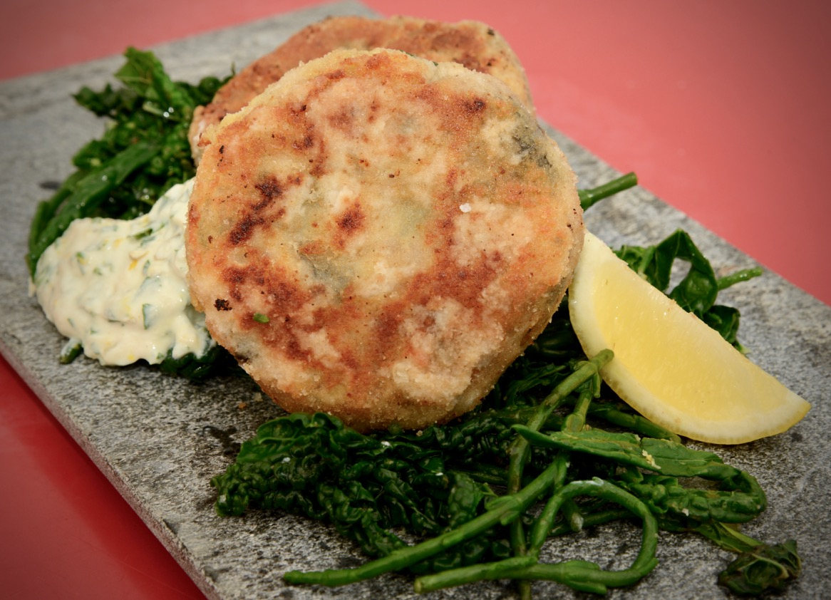 Chickpea Potato Seacakes on a bed of Samphire and Kale with a Tofu tartare sauce.