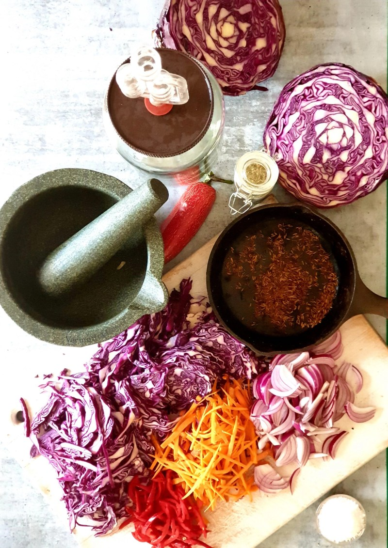 All the ingredients ready to make Fermented Red Cabbage Curtido