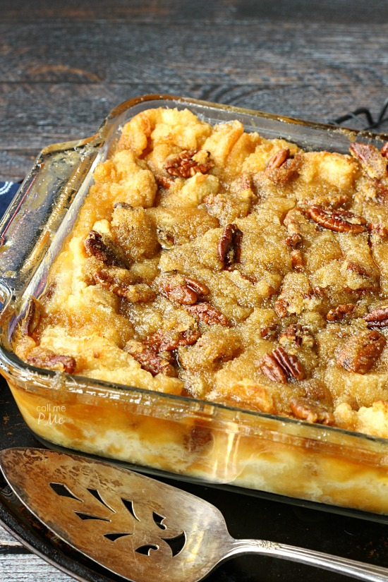 Pecan Pie Bread Pudding from callmepmc.com combining 2 classics this bread pudding dessert has a rich pecan pie topping.  Serve it for breakfast as French toast gives you an excuse to eat pie for breakfast!