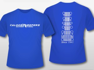 Caloosa Jeepers Mens Blue Grills Tshirt Short Sleeves