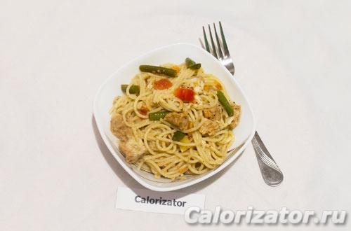 Спагетти с соевым мясом и овощами - как приготовить ...