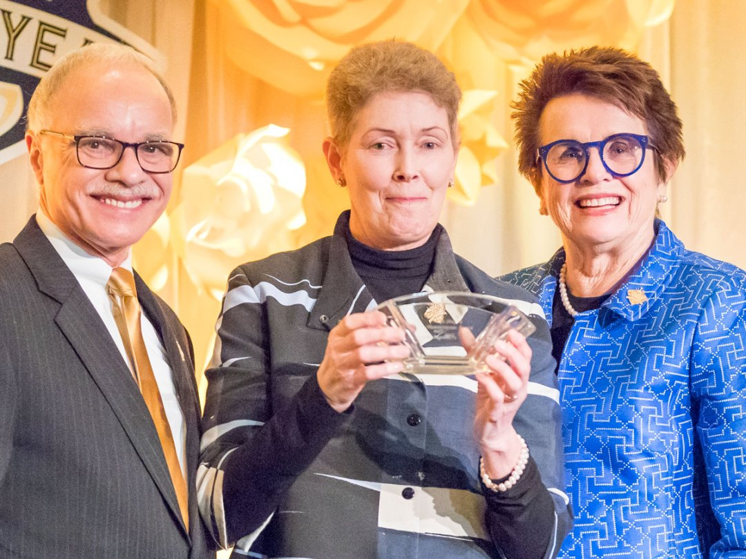Cal State LA President William Covino with Billie Jean King and Tam O'Shaughnessy